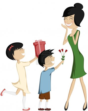 Surprise Mom (colorful and detailed with a black-haired daughter and son)!