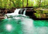 Waterfall landscape design.