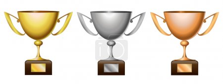 Illustration for Vector illustration of gold cup, silver cup and bronze cup - Royalty Free Image