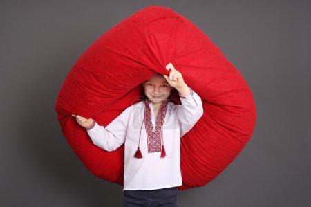 Huge bean bag chair and little boy