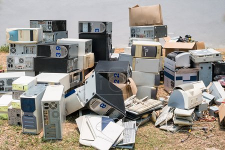 Photo for A pile of old computers waiting for sending to recycle plant. - Royalty Free Image