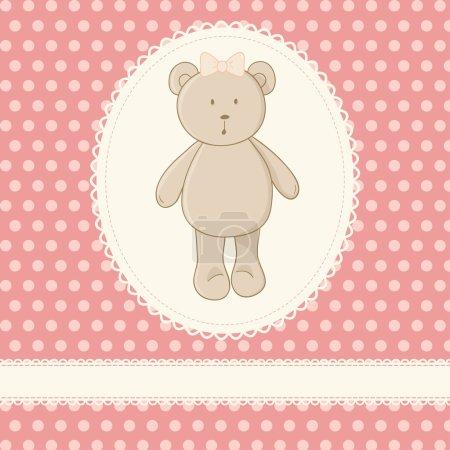 Illustration pour Petit jouet ours en peluche, dentelle blanche, fond rose avec des pois. idéal pour le bébé carte d'invitation, carte d'anniversaire de filles, etc. - image libre de droit