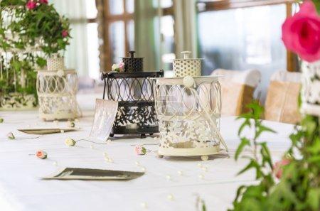 Photo pour Décoration de table de mariage vintage - image libre de droit