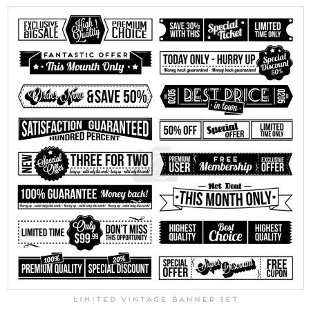 Illustration pour Ensemble de bannière d'affaires typographique vintage rétro pour le Web ou l'impression - image libre de droit
