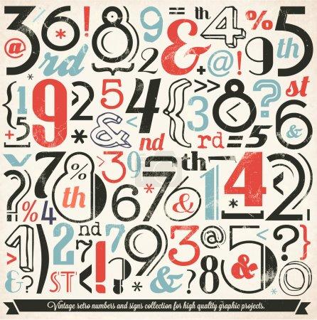 Illustration pour Collection divers numéros vintage et typographie. Pour les projets graphiques de haute qualité - image libre de droit