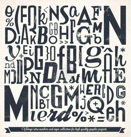 Illustration pour Collection Rétro Vintage Nombre et Typographie. Pour les projets graphiques de haute qualité . - image libre de droit