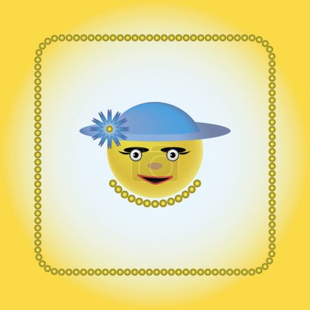 Illustration for Smiley in a blue cap with a blue flower and yellow beads - Royalty Free Image