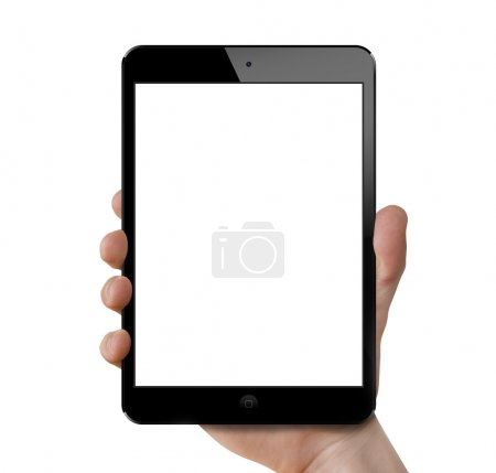 Photo for Mans hand holding an Apple new ipad mini. - Royalty Free Image