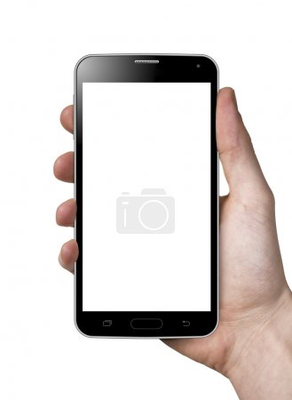 Photo for Man hand holding blank white screen smart phone. Isolated on white. - Royalty Free Image