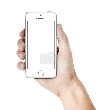 Photo pour Main tenant un smartphone avec écran blanc blanc blanc. isolé sur blanc. - image libre de droit