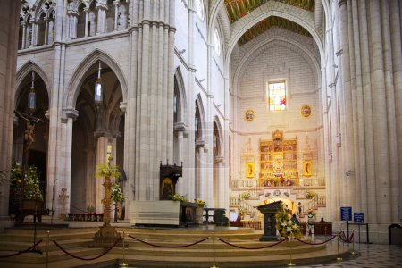 MADRID, SPAIN - MAY 28, 2014: Golden altar in Santa Maria la Real de La Almudena cathedral, Madrid, Spain.