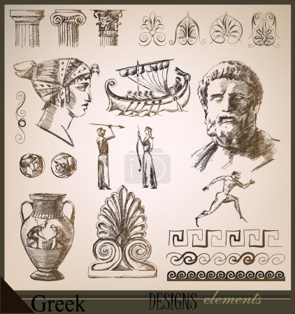 Old Greece. hand drawing design elements set