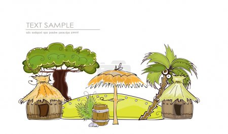 Happy world collection, Paradise tropical Island illustration, Travel consept