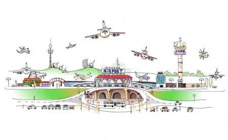 Airport illustration, City collection