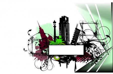 Grunge illustration of abstract city