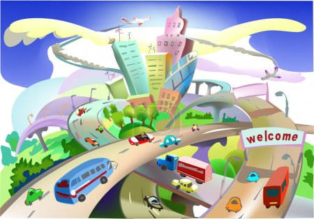 City and roads, Transport enviroment consept, City collection
