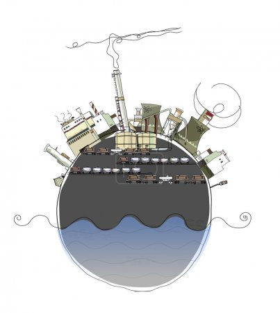 Planet and heavy industry, enviromental consept