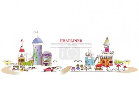 Shopping center illustration, City collection