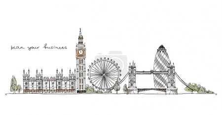 Sketch collection of capitals, London illustration