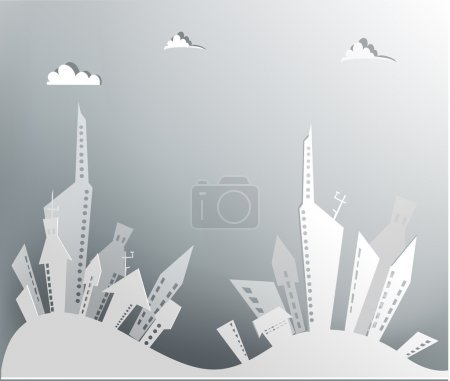 White city collection, City background made of paper stickers