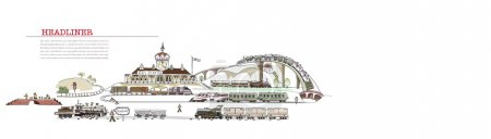 Railway station Illustration, transport cargo concept, City collection