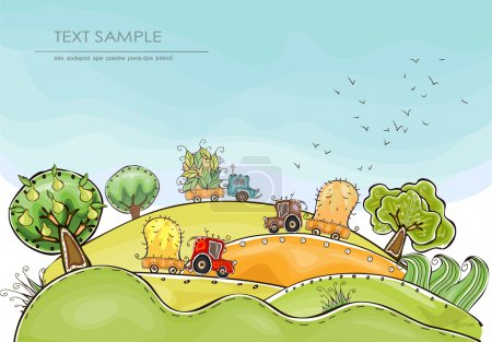 """Illustration pour Ferme biologique, Illustration du temps de la récolte Collection """"Happy world"""" - image libre de droit"""