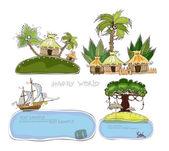 Papradise island Jungle village Travel background