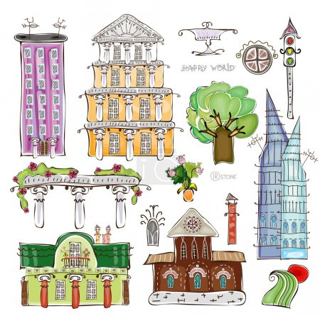 Illustration for City buildings and elements set, Happy world collection - Royalty Free Image