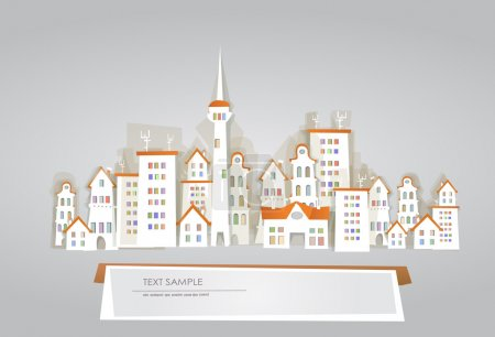"Illustration pour ""White city"" collection, vue de la ville - image libre de droit"