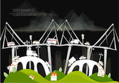 City and busy roads bridges and junctions Transport concept White city collection