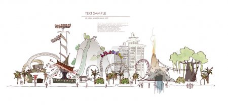 Theme park with rides illustration, City collectio...