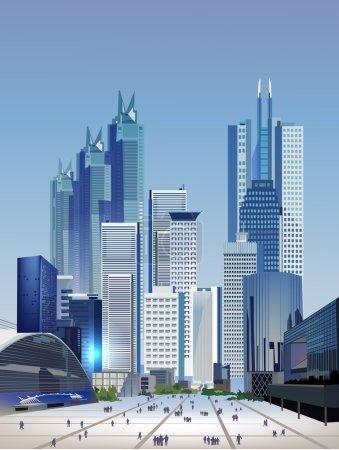 Illustration for Modern city illustration - Royalty Free Image