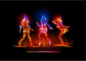 Fire symbols collection dancing girls