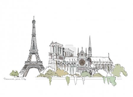 Paris,  sketch collection, Notre dame and Eiffel Tower