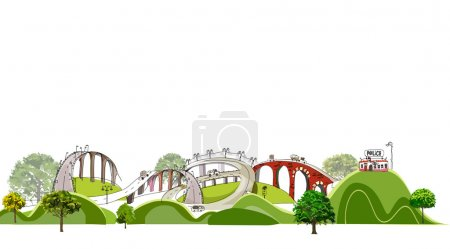 Roads and motorway, transport concept illustration