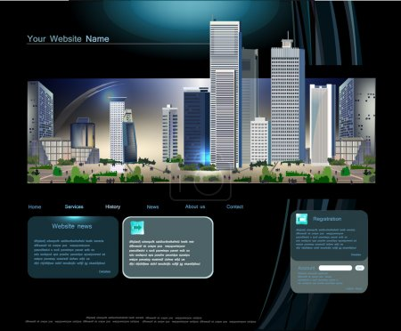 Web template with modern business center