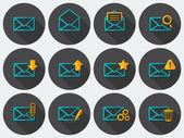 Flat email icons set