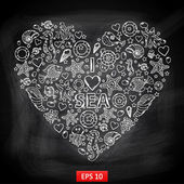 Chalk board I love Sea in the form of heartwith a variety of marine life:fishsea horsejellyfishsta rfishseaweedcoral turtlesea urchinshellslifeb uoy in the shape of heart with text