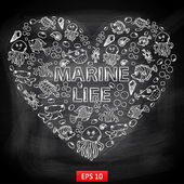 Chalk board Marine Life in the form of heart