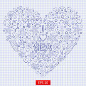 I love the sea themed illustration with a variety of marine life:fish sea horse jellyfish starfish seaweed coral turtle sea urchin shellslifebuoy in the shape of heart on the notebook sheet