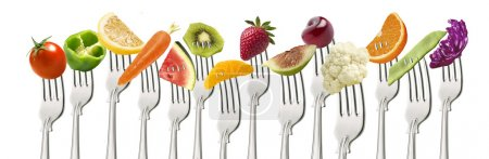 Photo for Fruits and vegetables on the collection of forks - Royalty Free Image