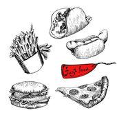 Fast food Set of vector illustration