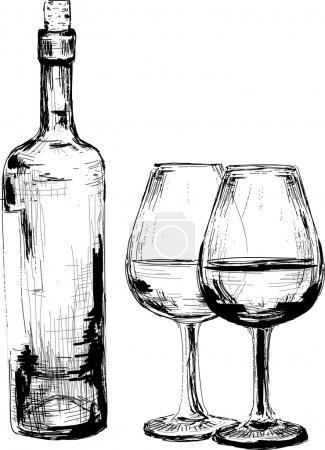 Illustration pour Bouteille de vin et deux verres. Série d'illustrations - image libre de droit