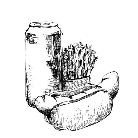 Illustration pour Hot dog, pain et frites. Illustration dessinée main - image libre de droit
