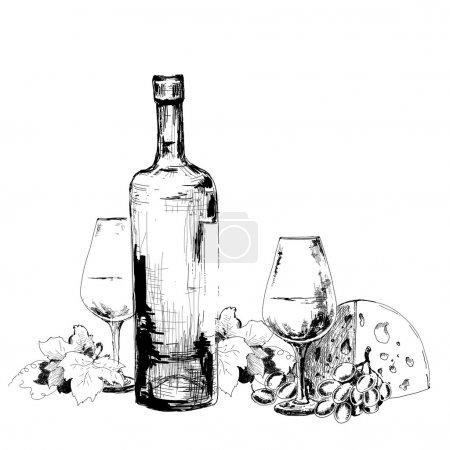 Illustration pour Vin au fromage et raisins. Illustration dessinée main - image libre de droit