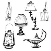 Set of lamps Yand drawn graphic illustrations