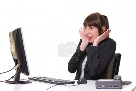 Photo for Stressed businesswoman working - Royalty Free Image