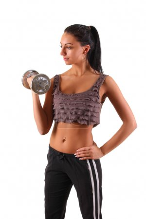 Photo for Girl with dumbbells - Royalty Free Image