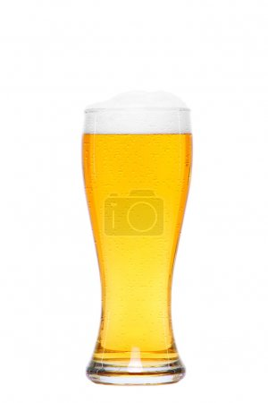 cold glass of beer with drops of water