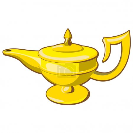 Illustration for Doodle style genie aladdin's lamp vector illustration - Royalty Free Image